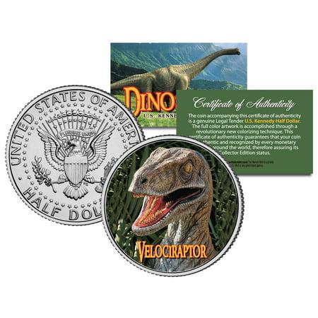 VELOCIRAPTOR * Collectible Dinosaur * JFK Kennedy Half Dollar US Colorized Coin