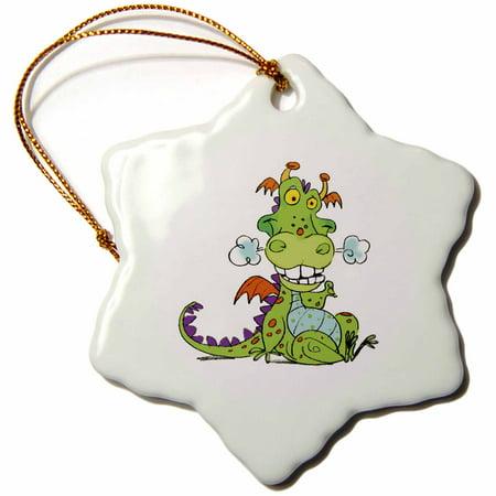 3dRose Cute Puffing Halloween Dragon - Snowflake Ornament, 3-inch](Cute Snowflakes)