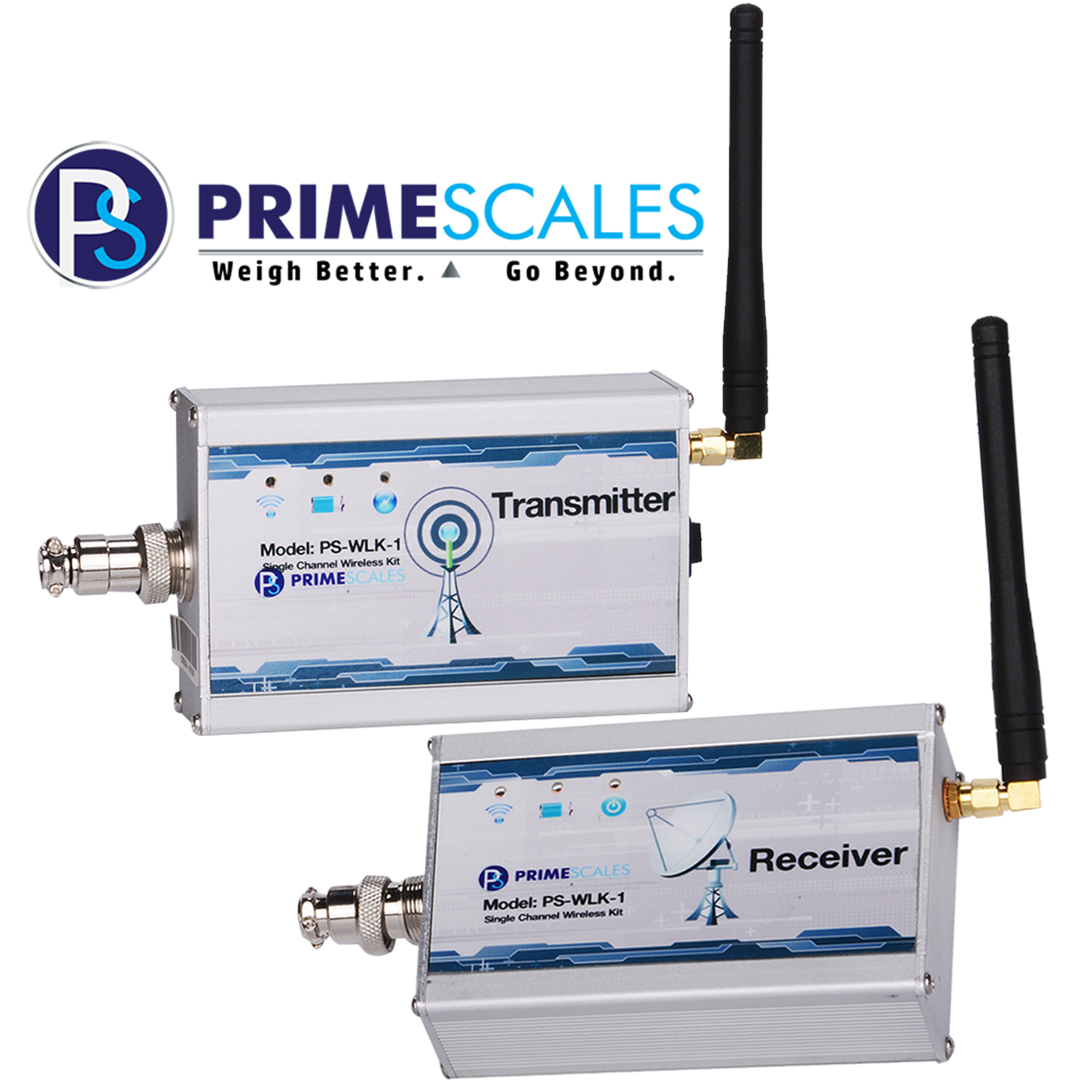 Prime Scales Radio Frequency Wireless Kit - 300Ft Range - 8 Frequency Channels Transmitter & Receiver Single Channel Wireless Kit