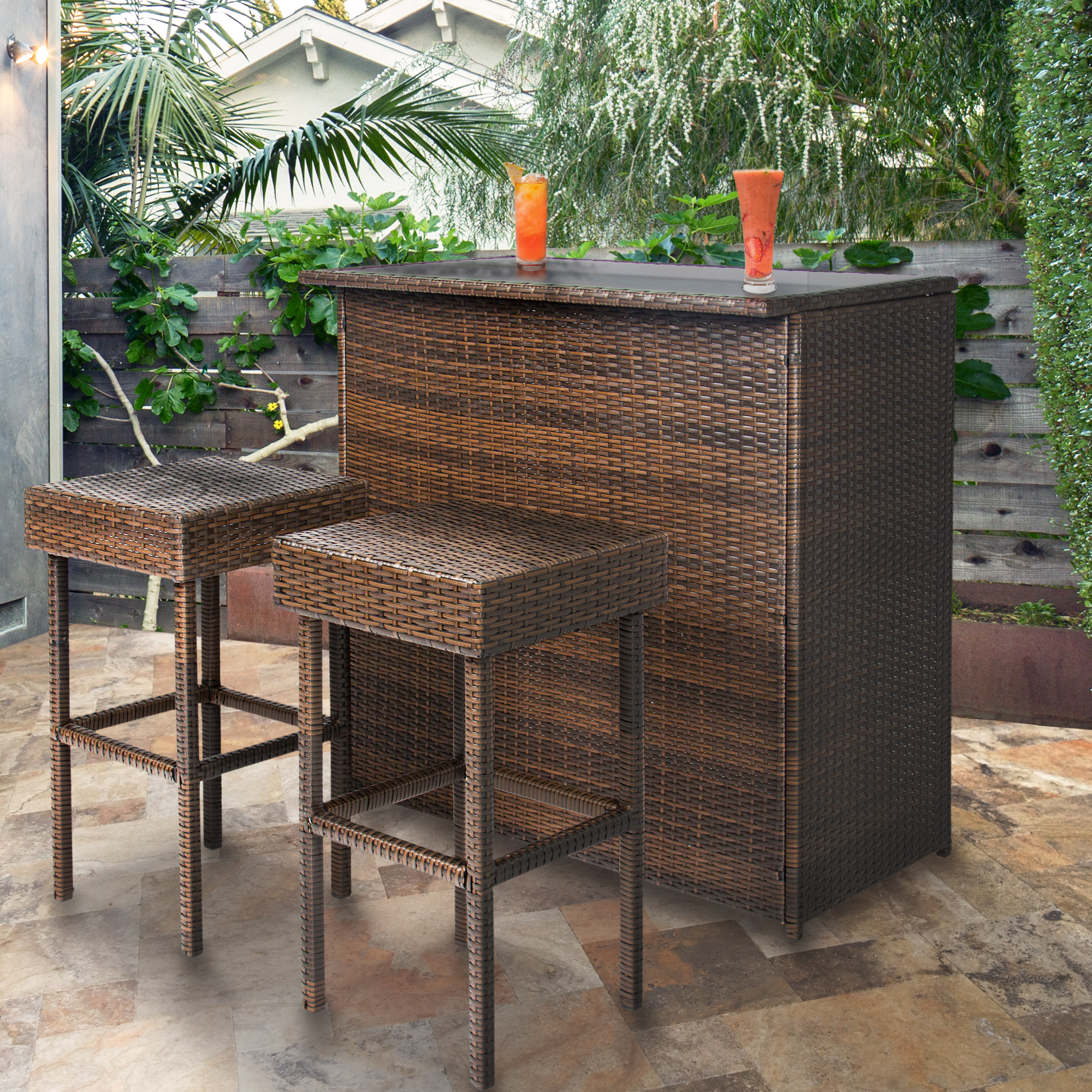 Best Choice Products 3PC Wicker Bar Set Patio Outdoor Backyard Table U0026 2  Stools Rattan Garden Furniture   Walmart.com