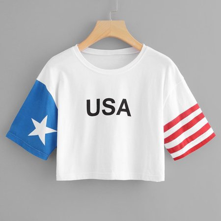 Fashion Women Short Sleeve American Flag Print Top (American Flag Fashion)