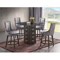 """Walden 5 Piece Counter Height Kitchen Dining Set (40"""" Square Pedestal Cappuccino Wood Table & 4 Light Blue Swivel Stools)"""
