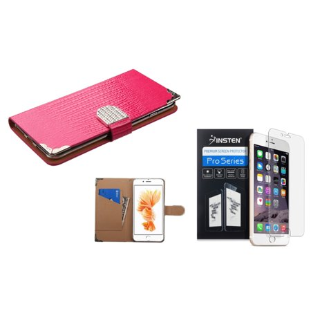Pink Leather Skin - Insten for iPhone 7 Plus - Clear Protector + Hot Pink Crocodile Skin Wallet Leather Case (with Metal Diamonds Buckle)