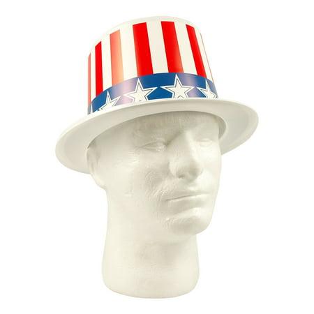 Party Time 2100RWB Patriotic Plastic Top Hats Stars & Stripes (Plastic Stars)
