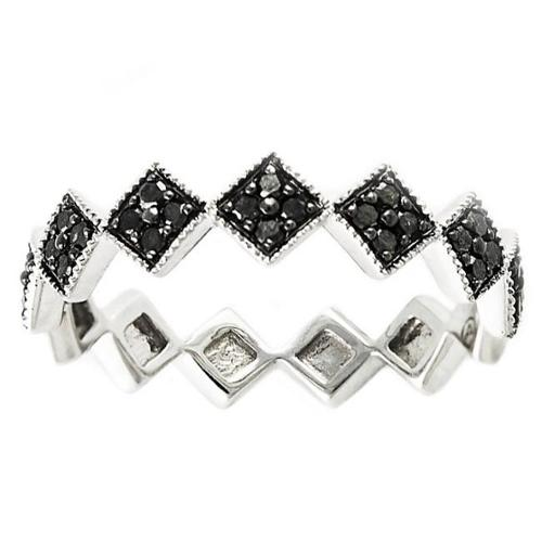 BHC 10k White Gold 1/4ct TDW Black Diamond Stackable Geom...