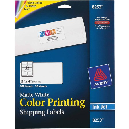 Avery Vibrant Color Printing Shipping Labels 2 X 4 Matte White