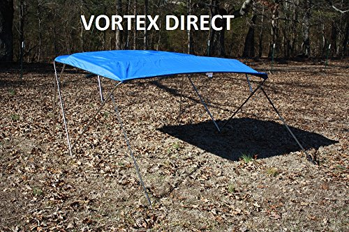 "New ROYAL BLUE STAINLESS STEEL FRAME VORTEX 4 BOW PONTOON DECK BOAT BIMINI TOP 10' LONG, 79-84"" WIDE (FAST SHIPPING... by VORTEX DIRECT"