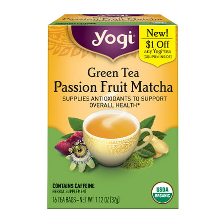 (3 Boxes) Yogi Tea, Green Tea Passion Fruit Matcha Tea, Tea Bags, 16 Ct, 1.12 OZ