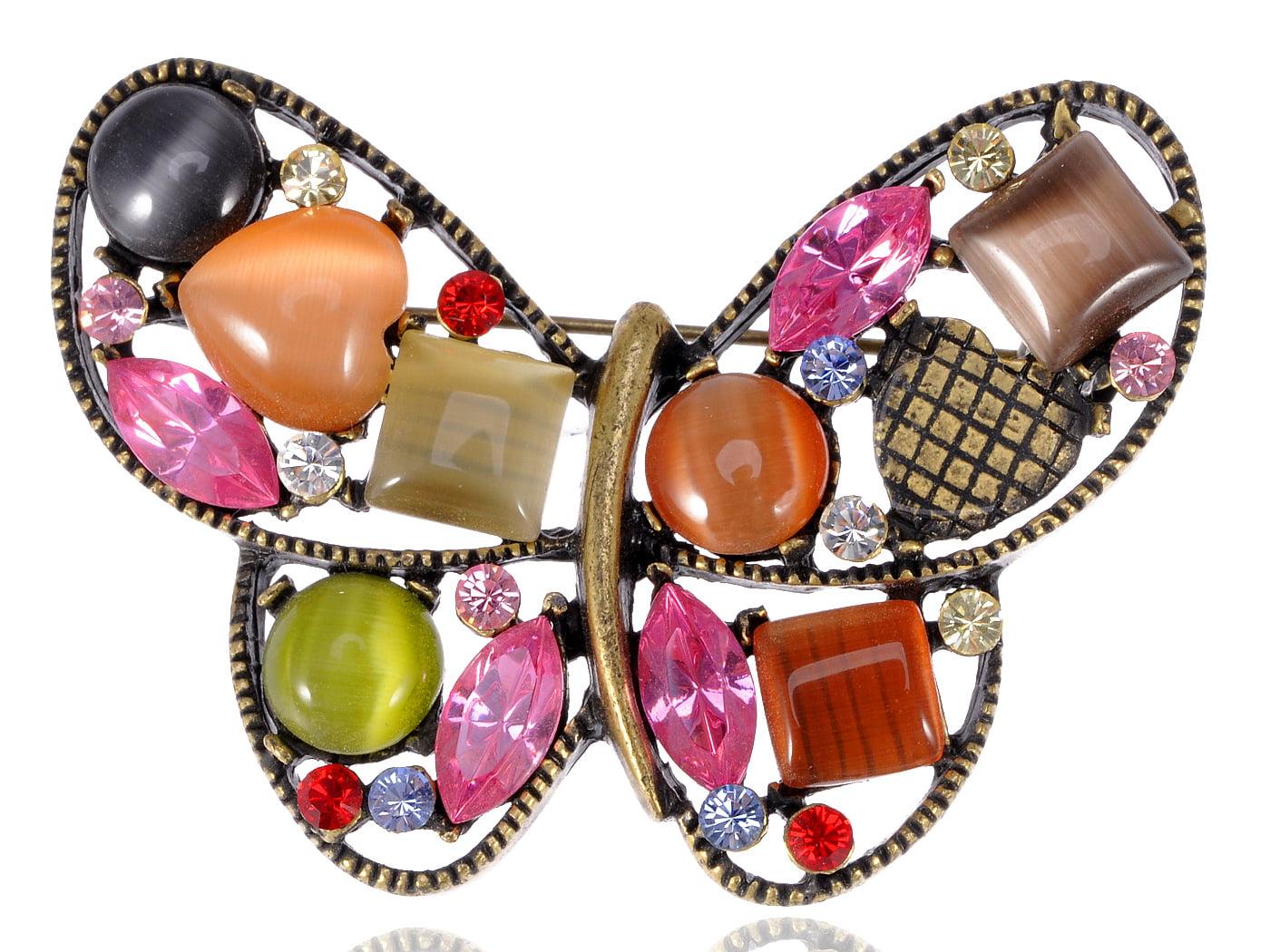 Multi Crystal Rhinestone Opal Green Pink Butterfly Wing Cute Custom Brooch Pin by