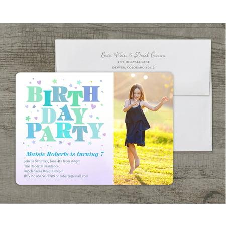 Girl Birthday Invitations (Bright Birthday Deluxe Birthday Young Girl)