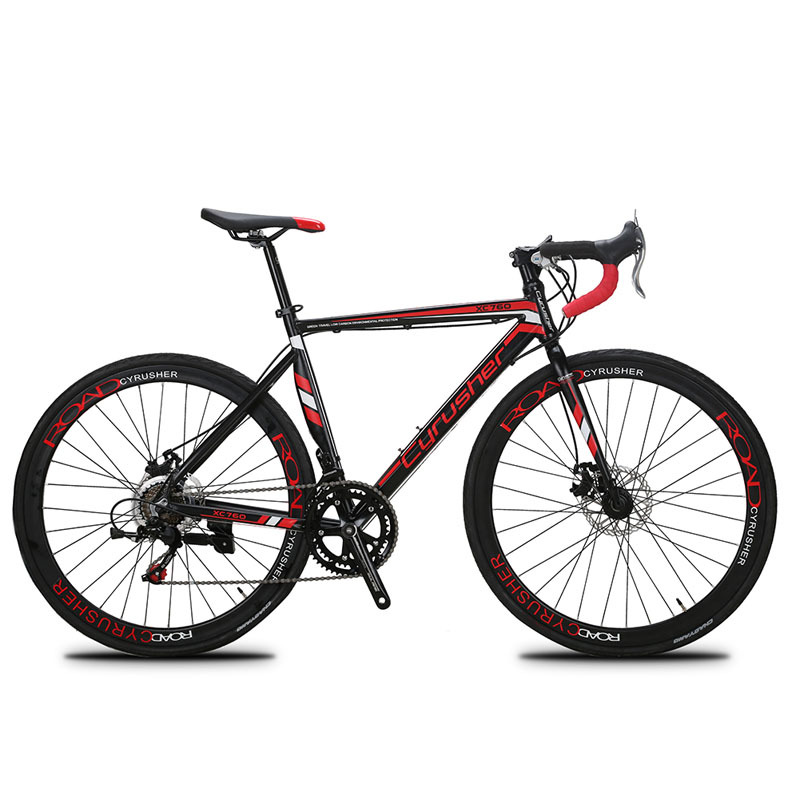 Cyrusher New 52cm XC760 Red Bike Aluminum Frame ShimanoTZ 50 14 Speeds Road Bike 700C Mans Road Bicycle Disc Brake Thanksgiving Gift For Man