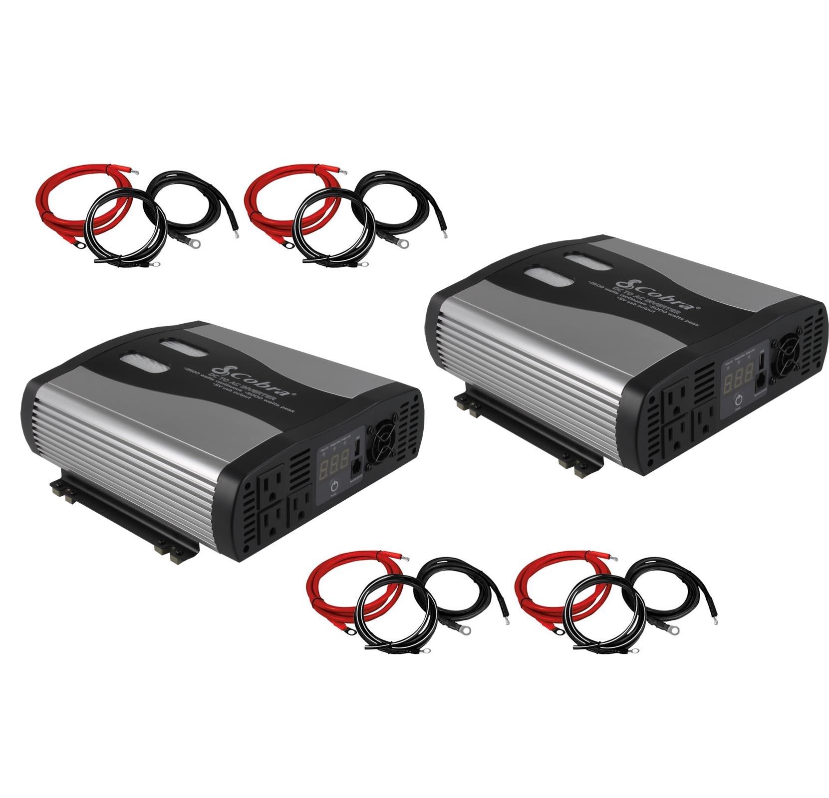 (2) Cobra CPI2575 2500 Watt DC to AC Car Power Inverters ...