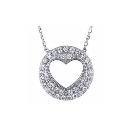 Sterling Silver Circle Open Heart Zirconia Pendant Necklace 16 Inch + 2 Inch Extender