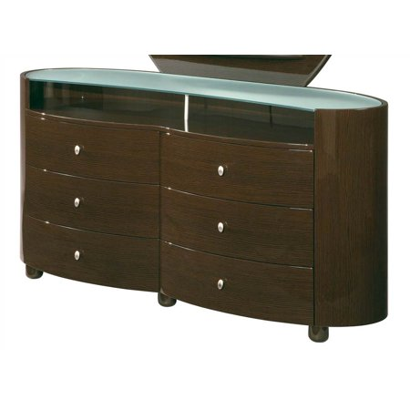 Emily 6 Drawer Glass Top Dresser in High Sheen Wenge