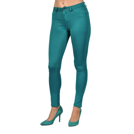 Womens Stretch Pants zipper fly and 2 Back Pocket Emeral Green