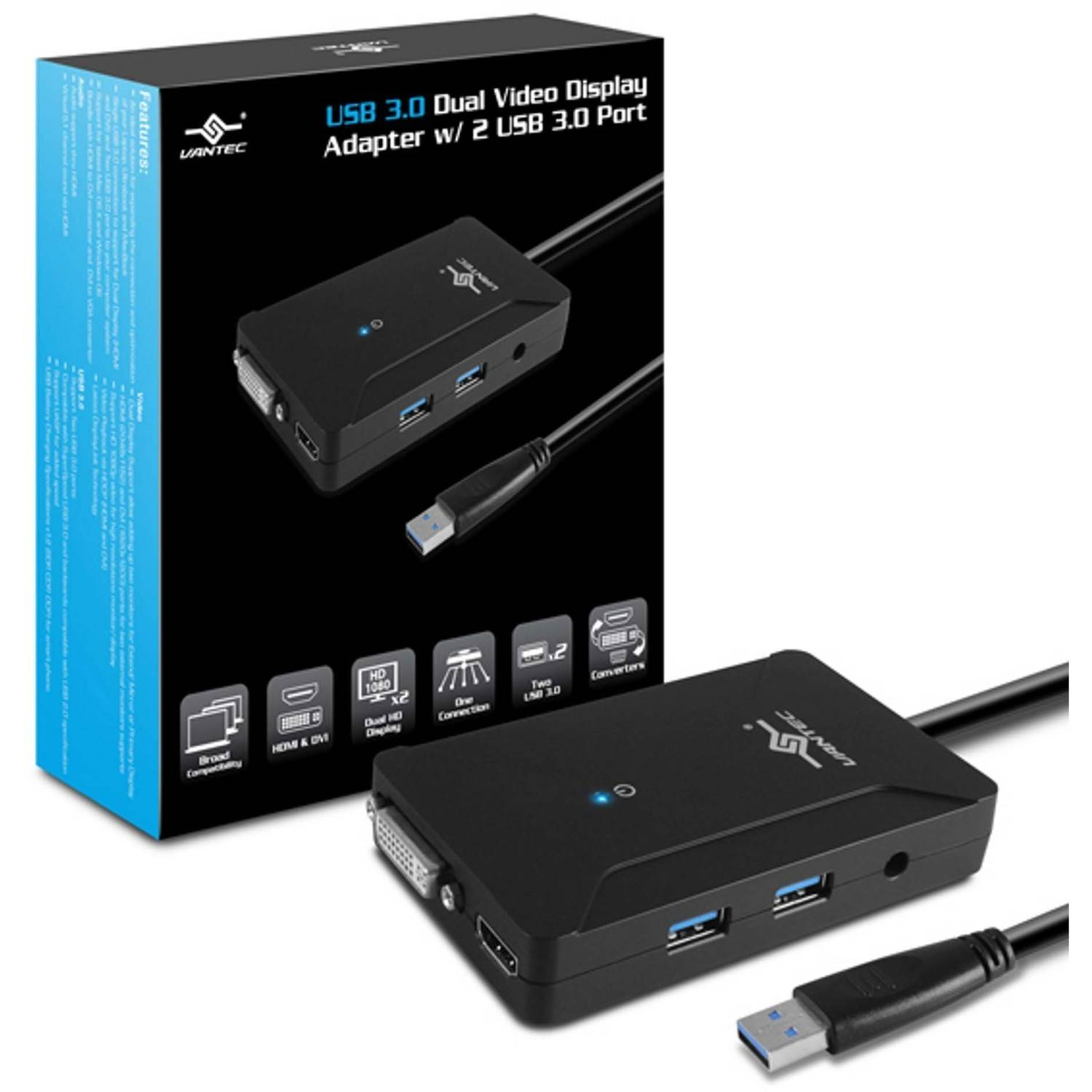 Vantec NBV-320U3 USB 3.0 Dual Video Display Adapter with USB Ports, Black