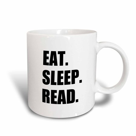 3dRose Eat Sleep Read - fun gift for reading fans bookworms and avid readers, Ceramic Mug, 11-ounce