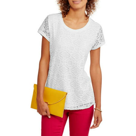 a35bf879851 Faded Glory - Women's Short Sleeve Lace Front T-Shirt - Walmart.com