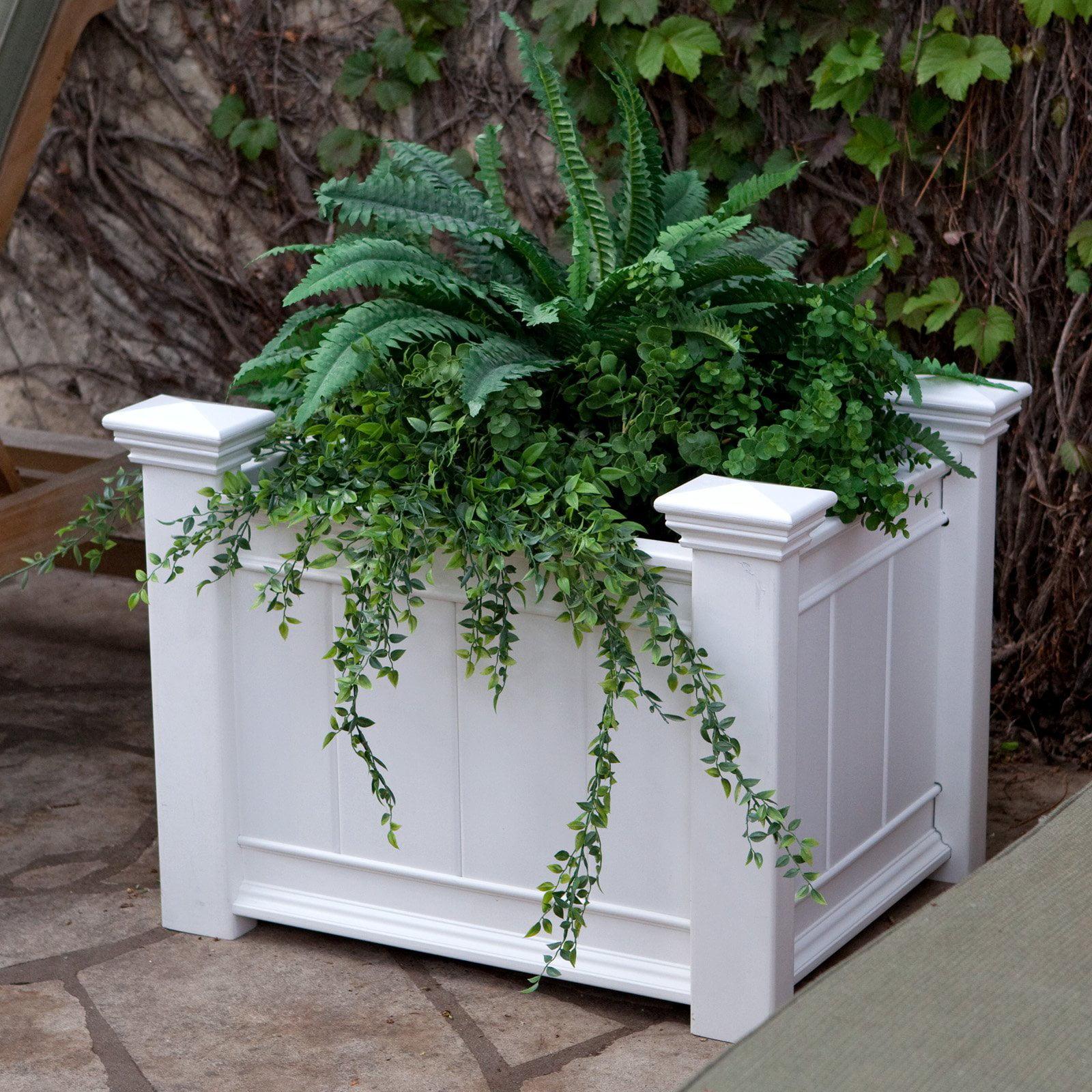 New England Arbors Barcelona White Vinyl Rectangle Planter Box
