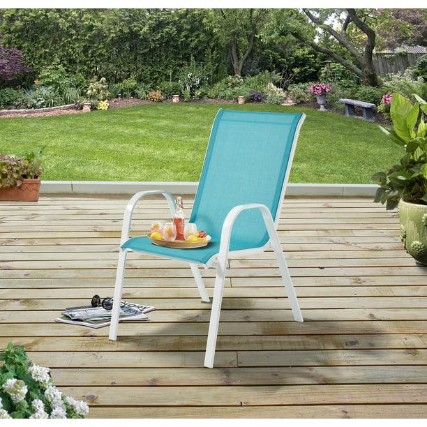 Mainstays Outdoor Patio Sling Mesh Chair Stackable Aqua Walmart Com Walmart Com