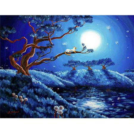 Mosaic Cross - DIY Funny Diamond Painting Moonlight Cat Tree Flowers Cross Stitch Embroidery Resin Mosaic Round Full Diamond 40*30cm