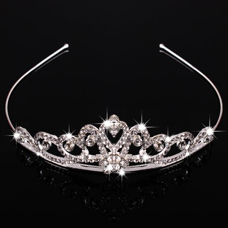 Princess Austrian Bridal Crystal Wedding Hair Tiara Crown Prom Veil