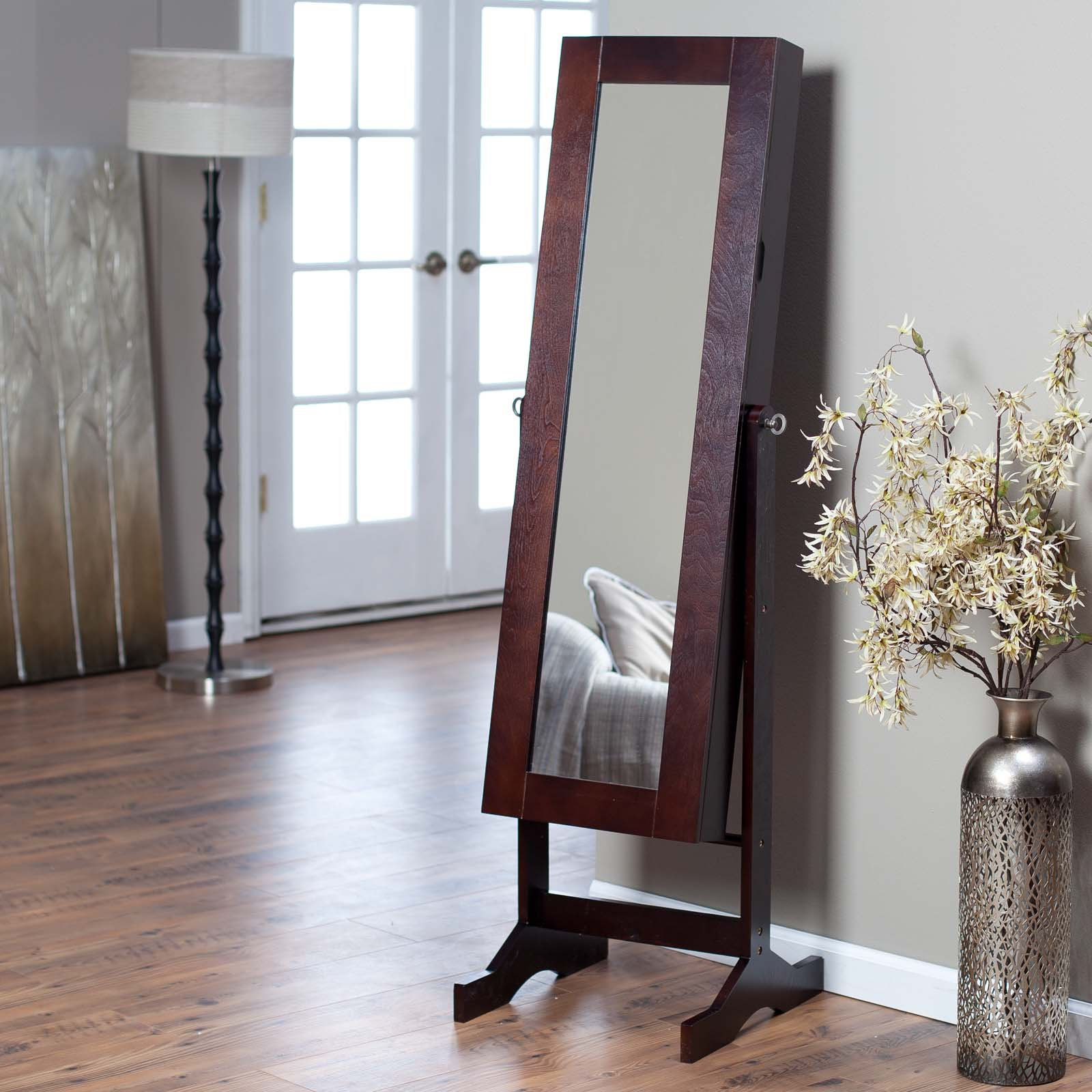 Modern Jewelry Armoire Cheval Mirror Espresso by 4 Seasons Global Inc