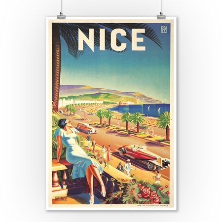 France - Nice - (artist: Hey, Efff D c. 1947) - Vintage Advertisement (9x12 Art Print, Wall Decor Travel Poster) - Nice Vintage Art