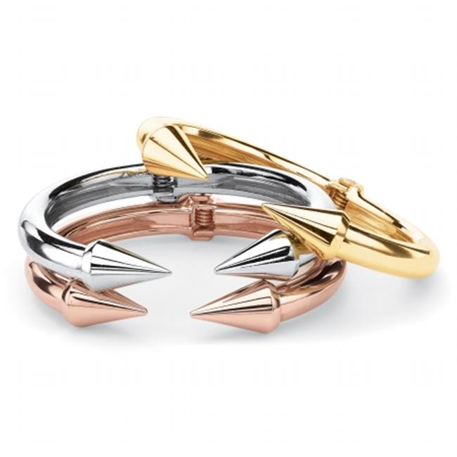 Palm Beach Jewelry 55664 Open Arrow Three-Piece Set of Cuff Bracelets, Gold Tone, Silvertone and Rose Gold Tone