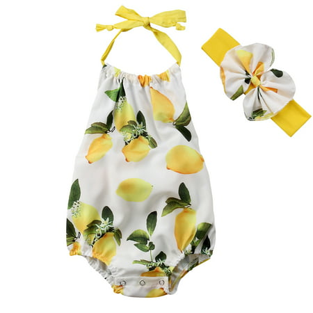 Infant Baby Girls Halterneck Lemon Romper Jumpsuit With Headband Outfits - Lemon Heads