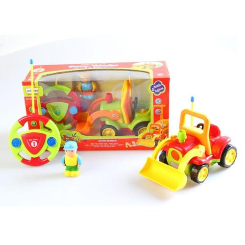 "4"" Cartoon Remote Control R/C Construction Truck Toy for Toddlers - Red"