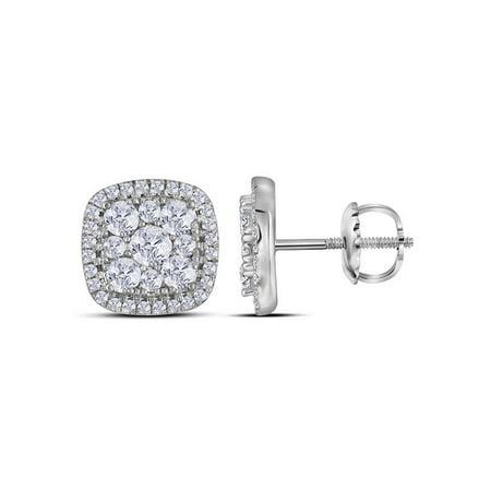 854151ea5 10kt White Gold Womens Round Framed Square Cluster Screwback Diamond  Earrings 1.00 Cttw - Walmart.com