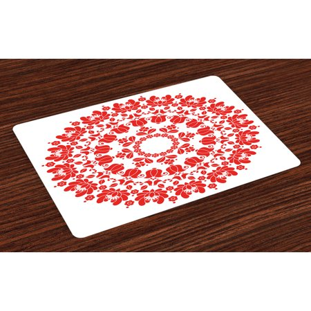 Red Mandala Placemats Set of 4 Hungarian Round Folk Art Pattern Tulips Traditional Kalocsai Old Fashioned, Washable Fabric Place Mats for Dining Room Kitchen Table Decor,Red and White, by Ambesonne ()