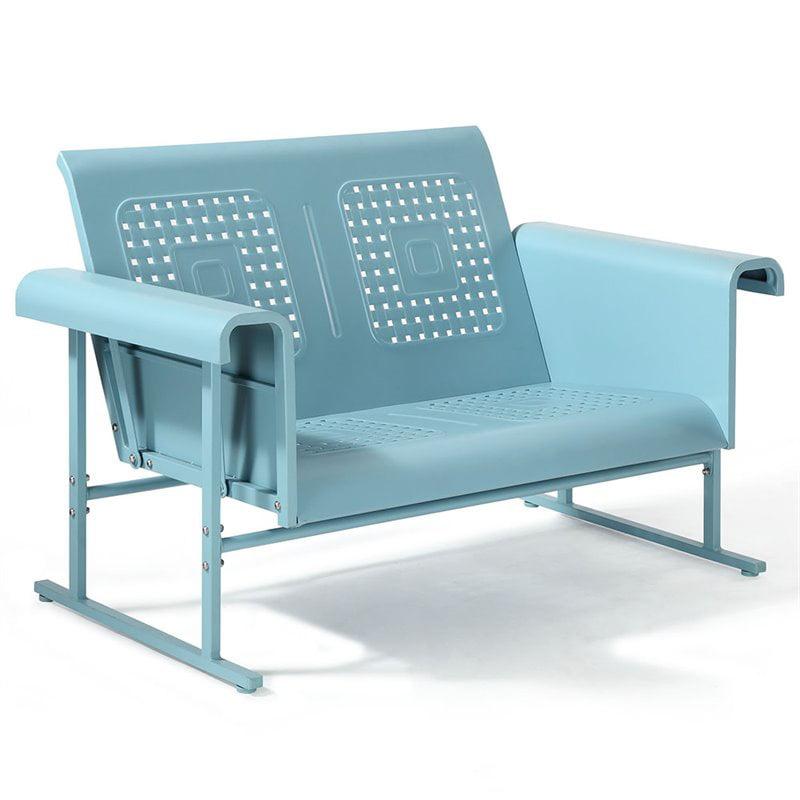 Crosley Furniture Veranda Loveseat Glider In Caribbean Blue