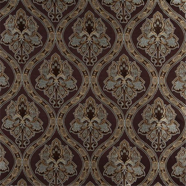 Designer Fabrics K0016F 54 in. Wide Brown, Light Blue, Gold And Ivory Embroidered, Traditional Brocade, Upholstery And Window Treatments Fabric
