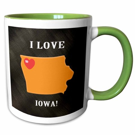 3dRose I Love Iowa with a Heart on the State, Black, Orange and Red - Two Tone Green Mug, 11-ounce