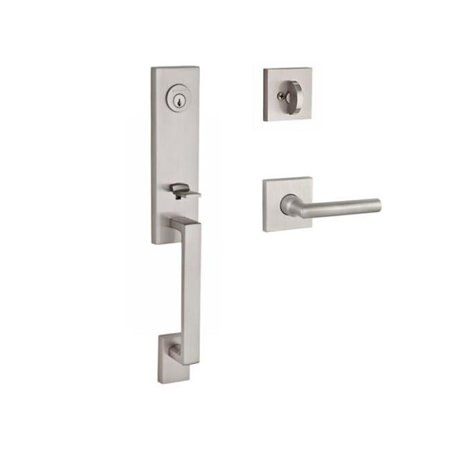 Baldwin SCSEAXTUBRCSR150 Reserve Single Cylinder Handleset Seattle x Tube with Contemporary Square Rose in Satin Nickel Finish Right (Brushed Nickel Handlesets Single Cylinder)