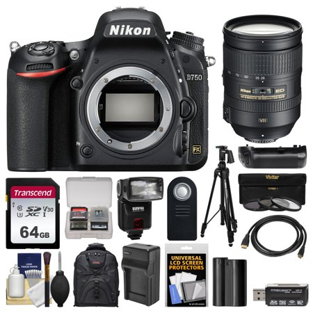 Nikon D750 Digital SLR Camera Body with 28-300mm VR Lens + 64GB Card + Case + Flash + Battery & Charger + Grip + Tripod + Kit ()
