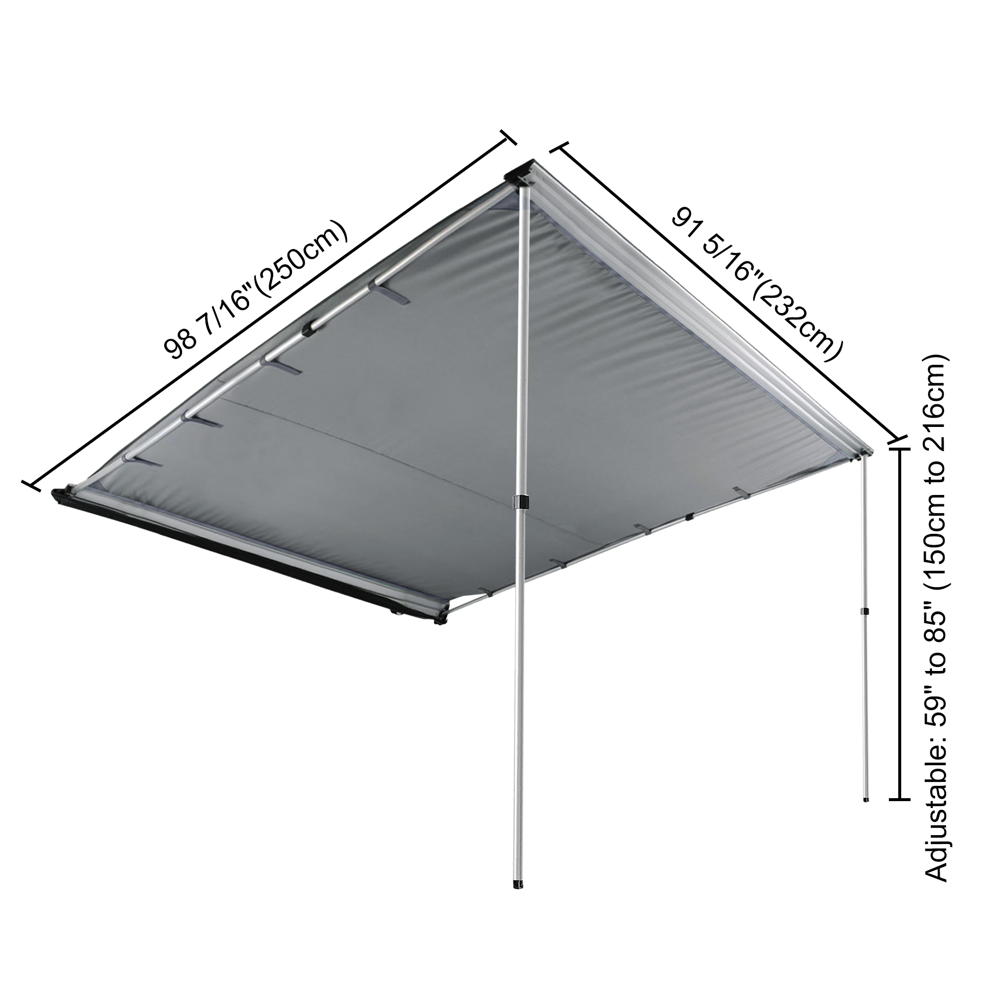 2x2M Car Side Awning Roof Top Tent Oxford Sun Shade Shelter Car Tent Grey Color