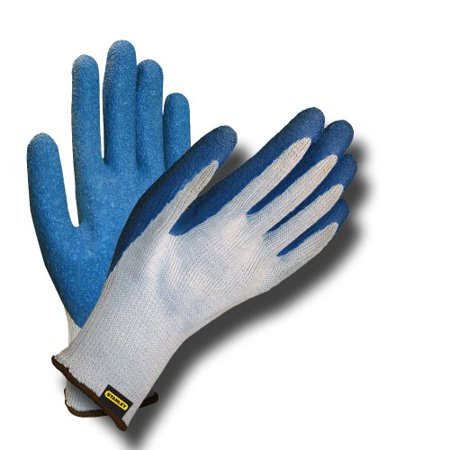 Blue Crinkle Latex - Stanley S39821 Polyester-Cotton Glove with Blue Crinkle Latex Coating, Gray
