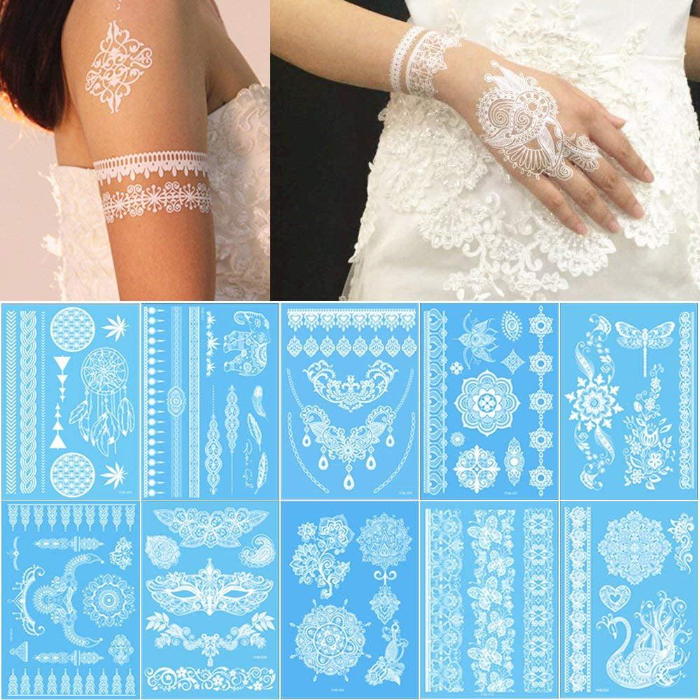 Tricolour 10 Sheets White Henna Temporary Tattoos Body Art Stickers For Women Teens Girls Necklace Bracelets Patterns 210 X 150mm Walmart Com Walmart Com