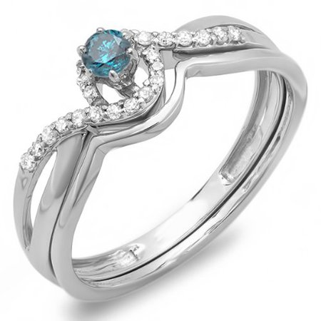 - 0.25 Carat (ctw) 14k White Gold Blue And White Diamond Swirl Crossover Bridal Engagement Ring Set 1/4 CT