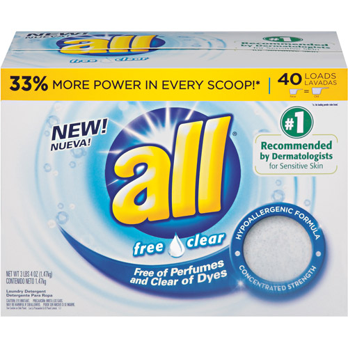 All Free Clear Powder Laundry Detergent, 100% free of dyes, 40 Loads, 52 oz