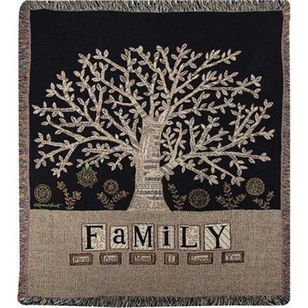 Charlotte Home Furnishings WW-8714-12227 Family Tree Afghan Throw, Brown - image 1 de 1