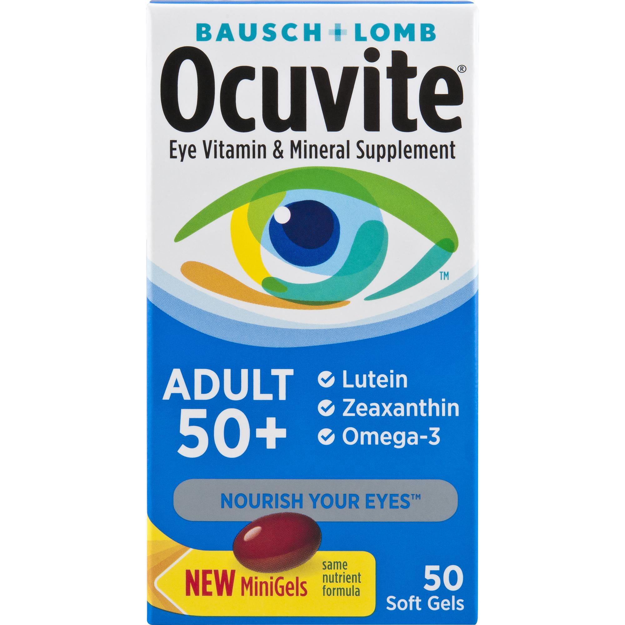 Ocuvite Eye Vitamin Adult 50+ Formula Eye Health Vitamins, 50 CT Soft Gels