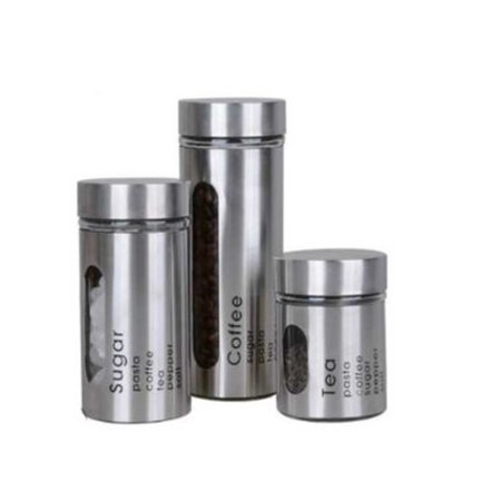 Set of 3 Stainless Steel Tea, Coffee & Sugar Canisters with Clear Window - Airtight Seal