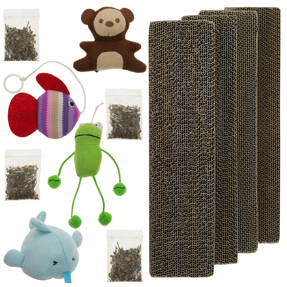 4 Master Paws Corrugated Cardboard Cat Scratching Post Refill Pads With Catnip & Set of Toys by