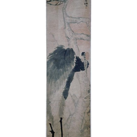 'Crane and Pine', hanging scroll by Jen Po-nien, Chinese, c1890 Print Wall Art By Werner Forman