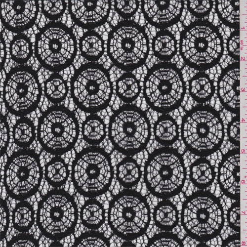 Black Circular Lace, Fabric By the Yard