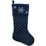 holiday time christmas decor 20 quilted velvet stocking with silver sequins and front fold over velvet cuff with embroidered snowflakes walmartcom
